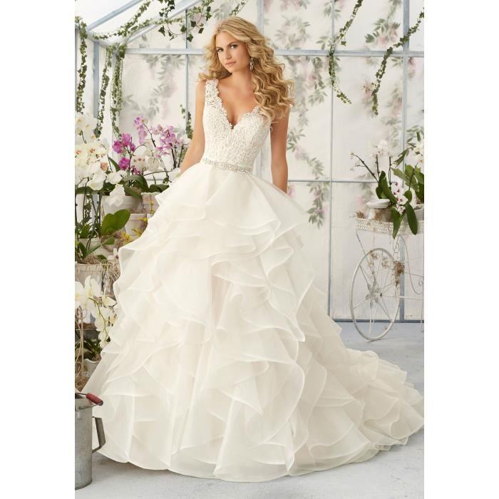 bd724a68c1d Robes de Mariée Mariage Longue Robe de Princesse Bal Dentelle Col V ...