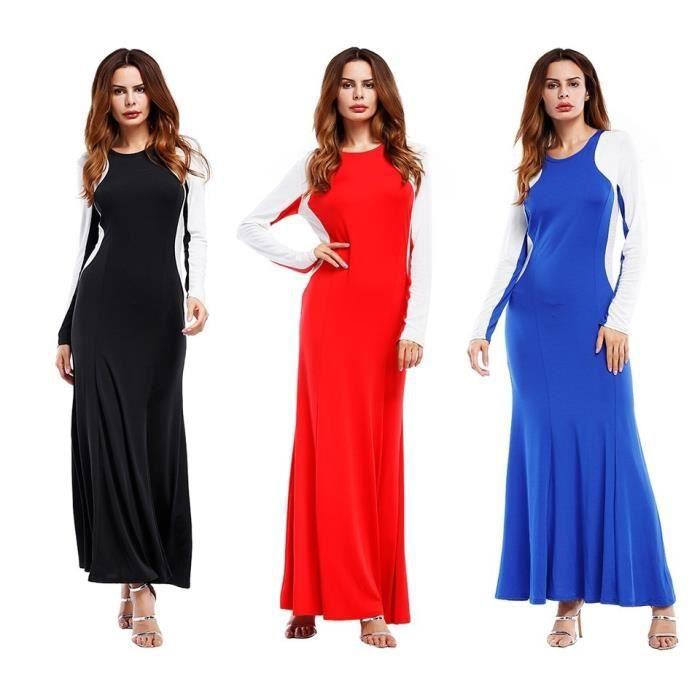Automne avec la couleur pure contraste couleur des coutures à manches longues paquet robe robe fesses,noir,S