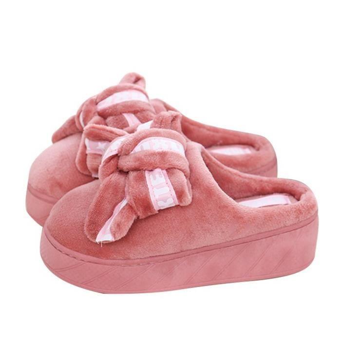 pantoufles en coton d'hiver dames en cachemire corail cuir épais coton anti-dérapantes remorque dames pantoufles maison de dcF5YDot2