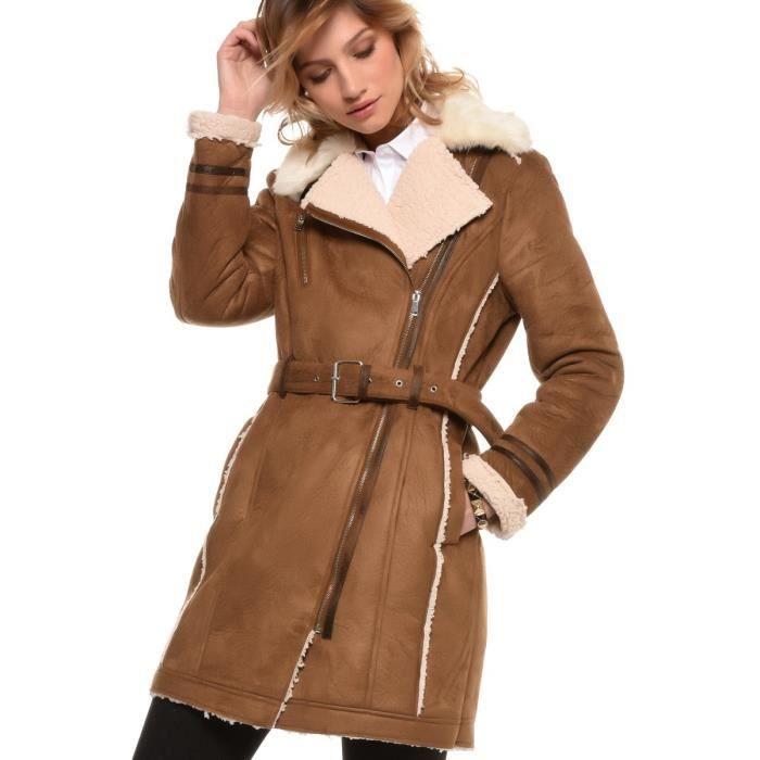 Manteau trois quart acrylique Taille Femme - 38, Couleur - caramel ... 476c3e2326ad