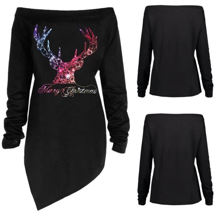 Épaule Joyeux Imprimer Féminine Chemisier Bl121806 Lettre T Noël Mode Cerf shirt Haut Oq45Cc7qWy