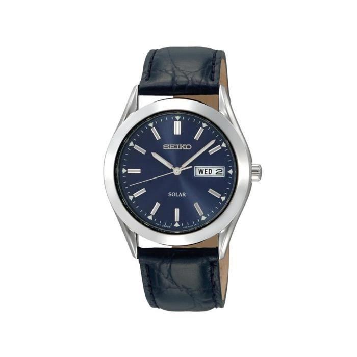 23ae3717f54a0e Seiko - SNE049P9 - Montre Homme - Quartz Analogique - Solaire - Bracelet  Cuir Noir