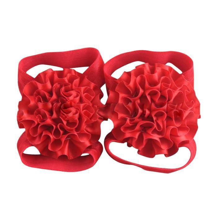 Chaussures de fleurs Sandales en ruban pour bebe fille (Rouge)