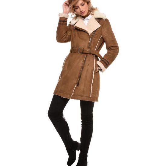 Femme 38 Acrylique Taille Caramel Couleur Quart Manteau Trois 1wqOIMz