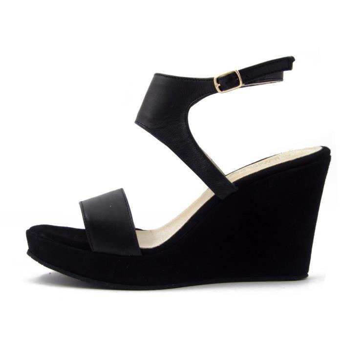 CINZIA SOFT, Sandale en cuir noir et daim, talon 9cm. et plateau, 2051
