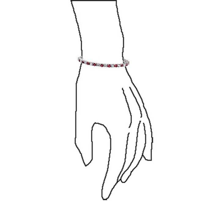Rouge Couleur Rubis Claire Cz Bracelet Tennis De 7,5 Pouces