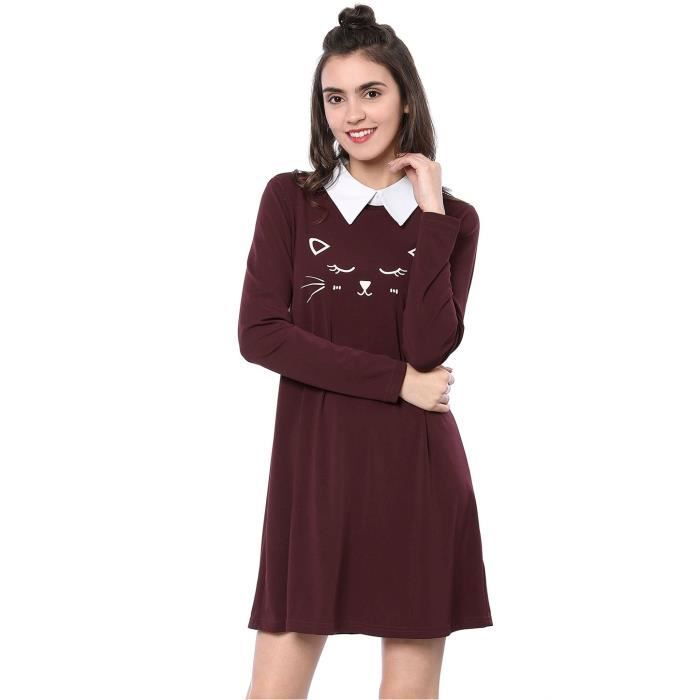 Womens Cat Face Printed Contrast Collar Swing Flare Dress 2P9NAR Taille-32