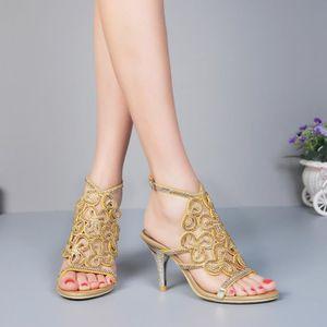 Femmes Mode sexy personnalité creuse fine avec Brochage Chaussures à talons hauts Chaussures de mariage,or,42