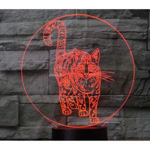 LAMPE A POSER 3D Lampe Optique Illusion Veilleuse Chat Commutate