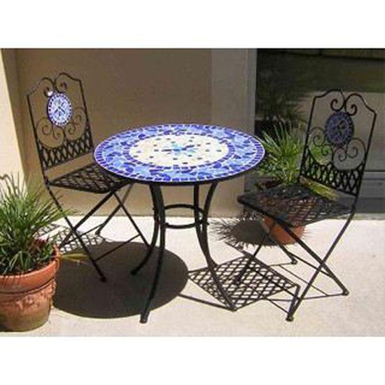 Table de jardin fer forgé et mosaïque bleue Ø76… - Achat / Vente ...