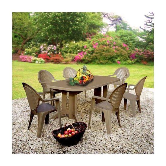 Salon de jardin Taupe : 1 table 2m20 + 6 faut - Achat / Vente salon ...