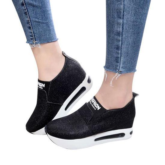 Amyamyi@Femmes plat épais Chaussures Bas Slip Bottes cheville plate-forme Casual Chaussures de sport WONG1187 Noir Noir - Achat / Vente slip-on