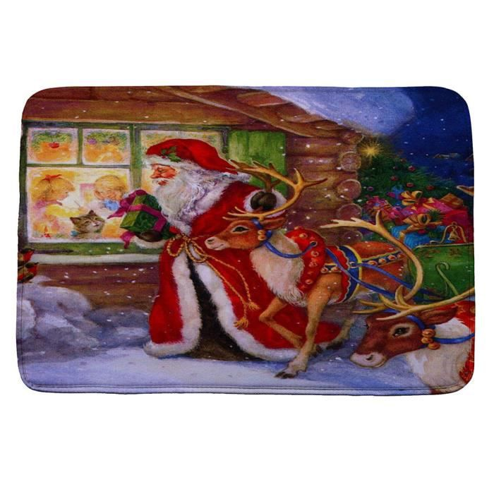 Tonsee®Décoration de maison absorbante de tapis de bain antidérapant imprimé par Noël HD de Noël  WTX61110487A