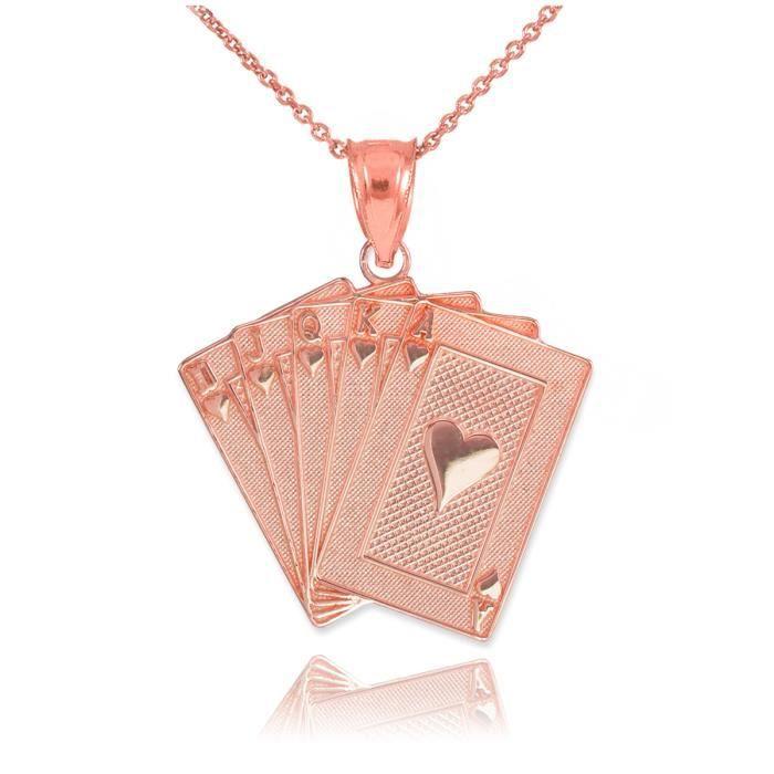 Pendentif Pendentif 10 ct or rose 471/1000 Royal Flush Poker