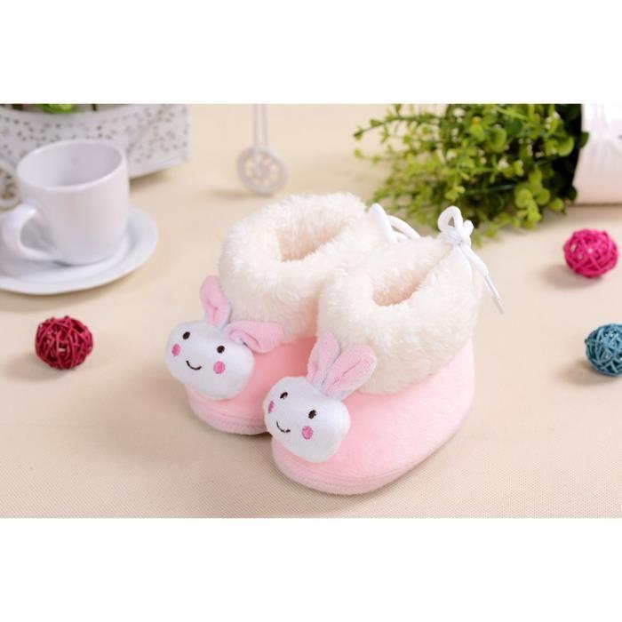 hiver cartoon lapin de bébé walker chaussures (pink-1)