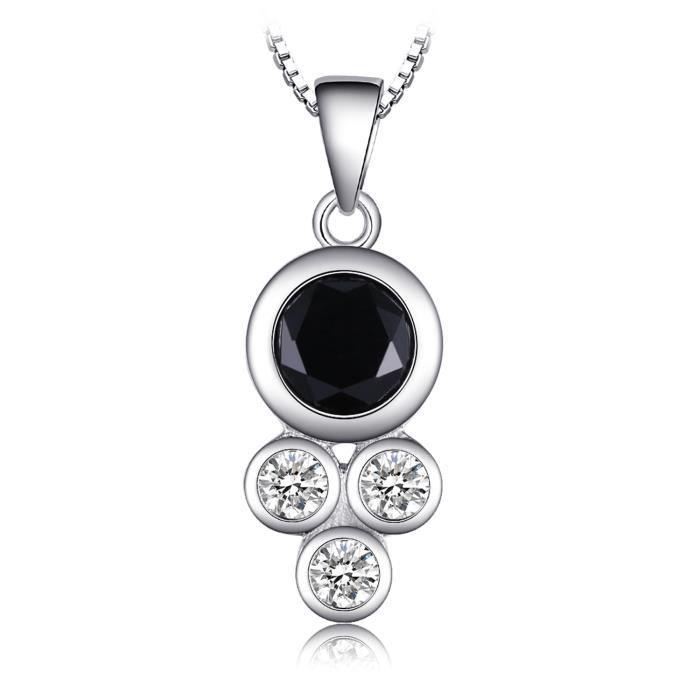 JewelryPalace Succinct 1.9ct Vert Noir Spinelle de Synthèse Cadre de lunette Pendentif Collier en Argent 925 18 Pouces
