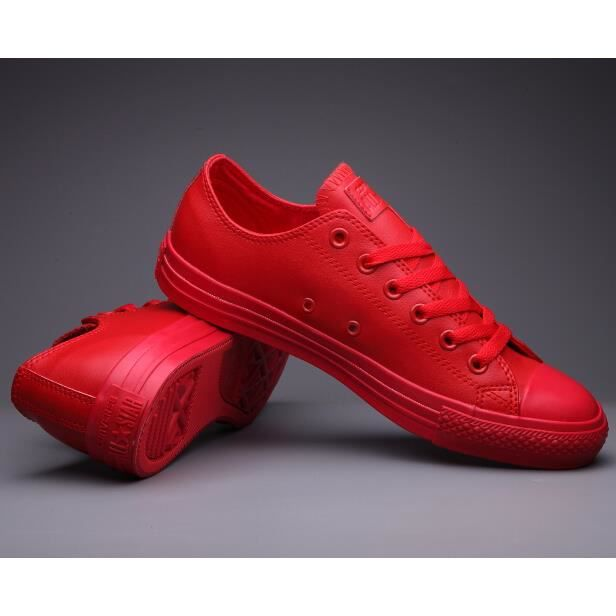 85bfb274dc55d Rouge Mixte Converse All Star Chunk Taylor basse cuir Basket Classic ...