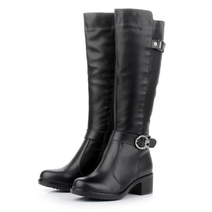 Mode Femme Bottes en Cuir Occasionnels Sur La Plate-Forme de Bottes longues avec fourrure Intérieur chaude en cuir bottes hiver chev