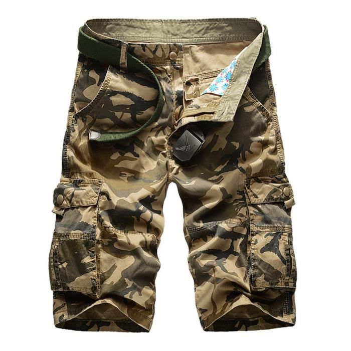 Bermuda Casual Poches Multi Homme Droit Style Cargo Camouflage rCdtshQ