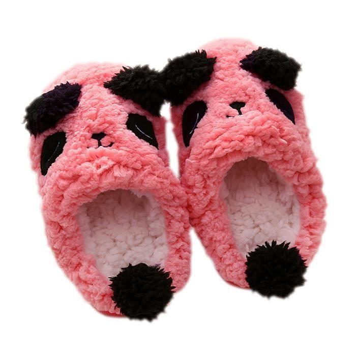 Pantoufles Enfant Hiver Mignon Panda avec Fourrure