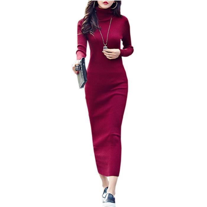 Robe de femmes gaine couleur unie à manches longues Maxi Robe longue 13070020