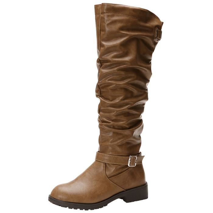 9ac0fe609ea Femmes en cuir Fermeture à glissière bout rond Bottes Cuissardes Chaussures  Martin Bottes Kaki