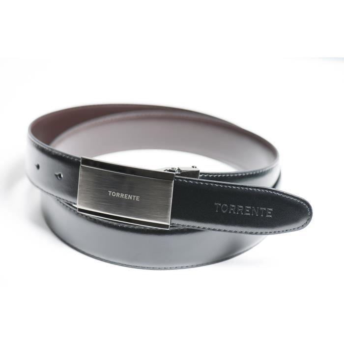 Torrente - Ceinture Reversible Noir Marron - Cuir - Taille Ajustable -  Boucle détachable - Ceinture homme Couture 13 5f8f455186f