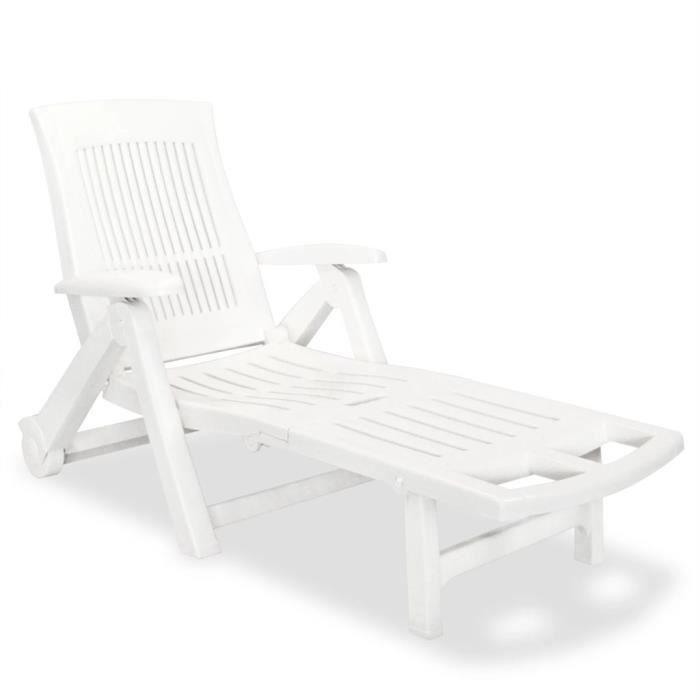 TransatCamping JardinFauteuil Repose Plastique Blanc Chaise Pied Soleil 101 X Cmbain Avec 195 De Jardin72 Longue WredCBox