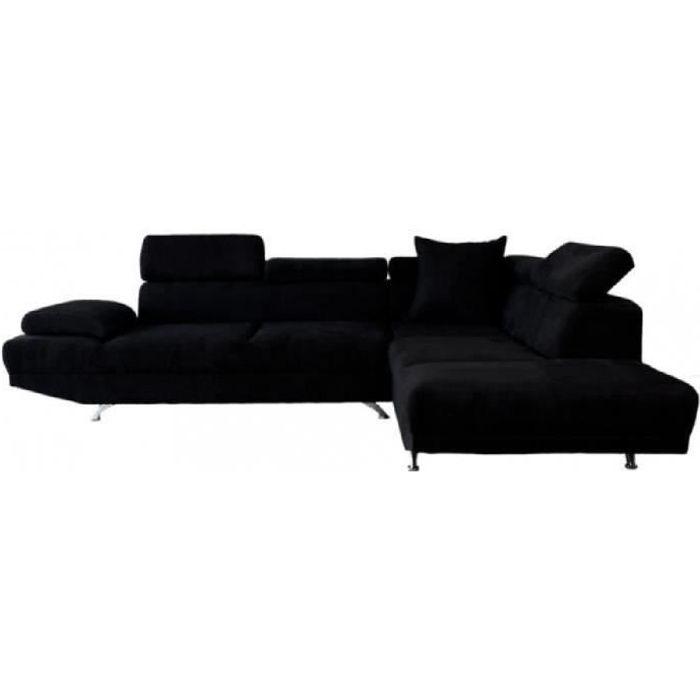 canap d 39 angle xl en tissu romain noir angle dro achat. Black Bedroom Furniture Sets. Home Design Ideas