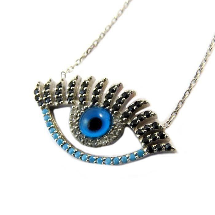 Collier Argent Oeil de Fatma bleu noir argenté (rhodié) [P1913]