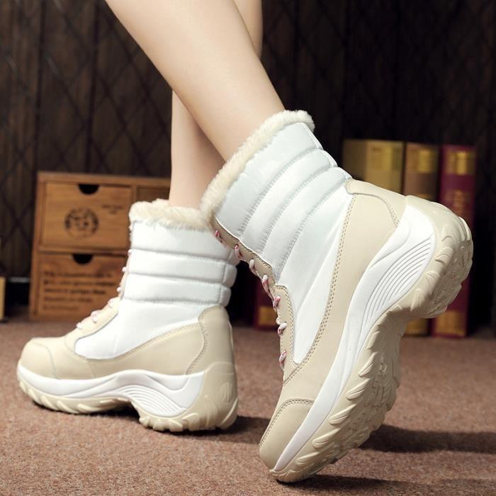Mode femme Bottes de neige en peluche chaud Chaussures montantes en cuir Chaussures de sport en plein air (plus la taille 35-41)