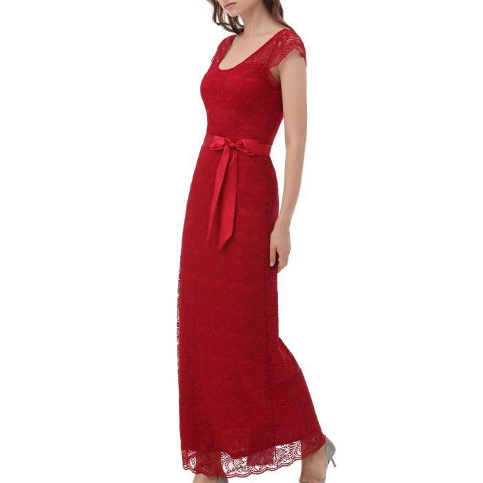 Vintage en Taille robe de 2LY46G avec Femmes dentelle Robe 36 florale mancherons demoiselle Rétro longue dhonneur pCX5w4