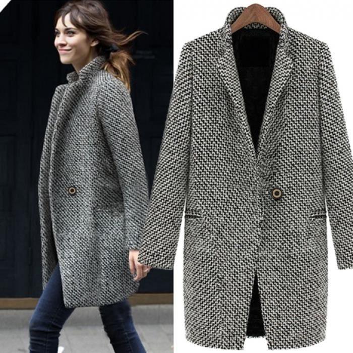 Trench-Coat femme Finejo hiver chaud revers laine longue veste ac8fd8f0570e