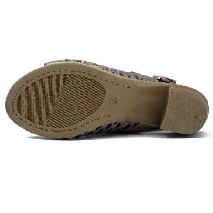 CINZIA SOFT, Sandale en cuir beige taupe, talon de 5cm, 1820