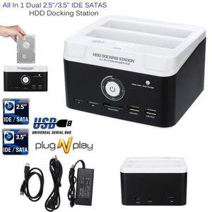 LECTEUR DE CARTE EXT. Dual 2.5 3.5 SATA IDE HDD Docking Station Lecteur