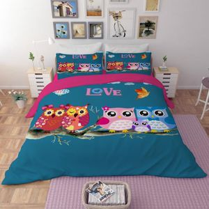parure de lit hiboux achat vente pas cher. Black Bedroom Furniture Sets. Home Design Ideas