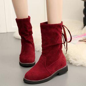 Napoulen®Dames boucle mince haut sur le genou Trim plat bottes pour femme Rouge-XMM71009532RD 5PDwR