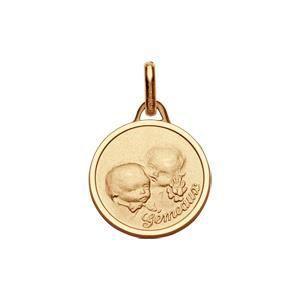 Medaille plaqué or ronde zodiaque Gémeaux pour béb