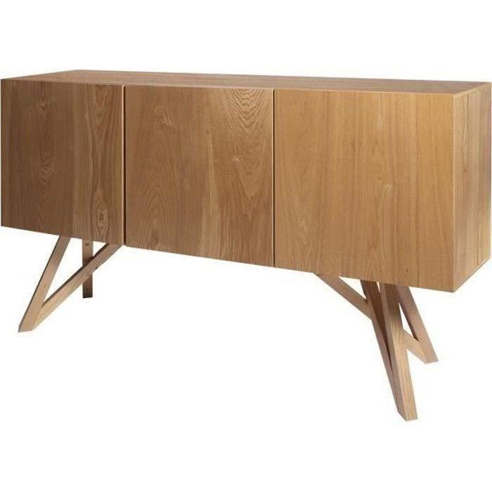 SAWYER Buffet 3 portes - Bois naturel - L 160 x P 42 x H 85 cm