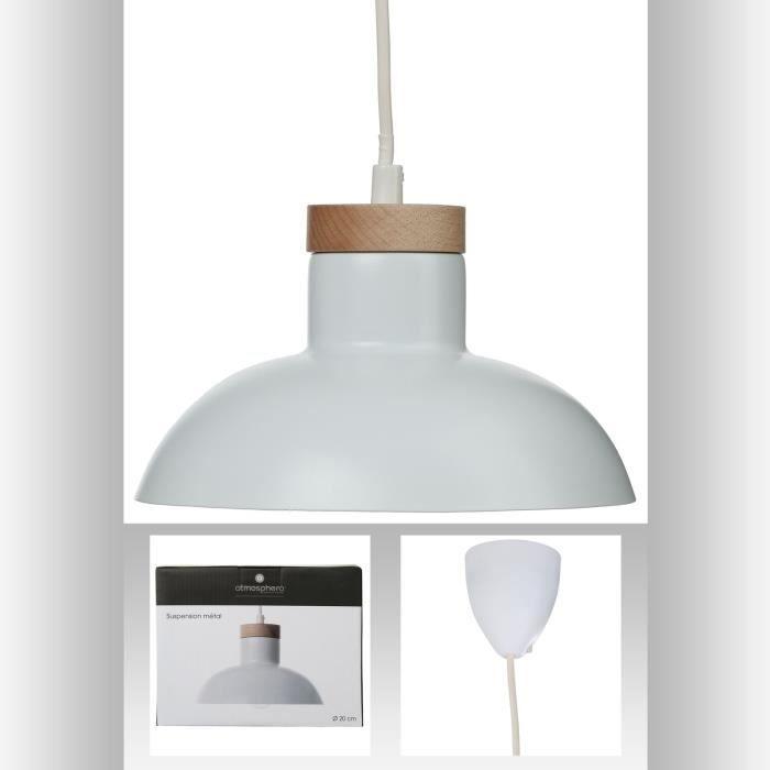suspension lustre en m tal et bois style pur coloris blanc achat vente suspension. Black Bedroom Furniture Sets. Home Design Ideas