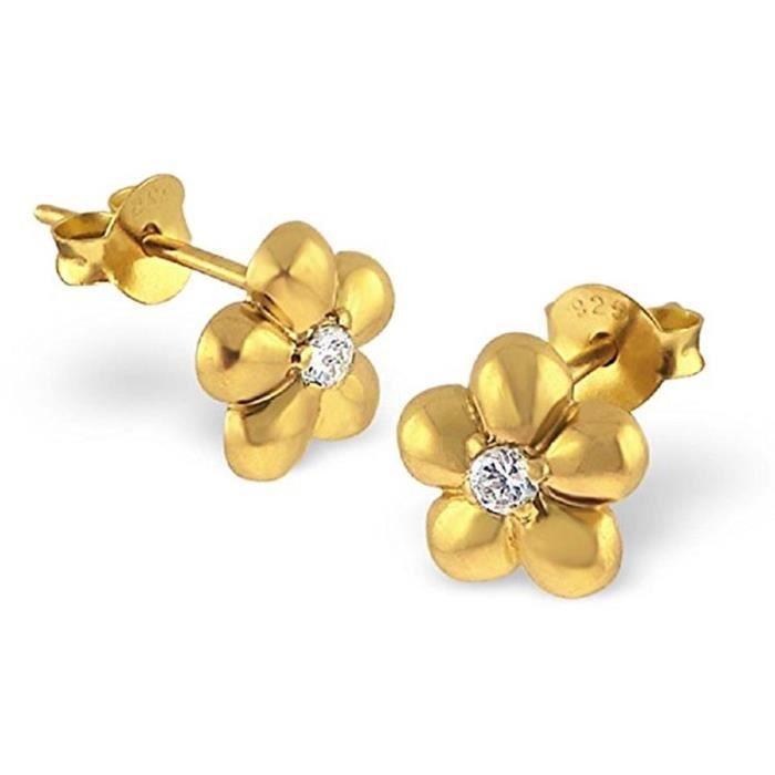 LAIMONS - Boucles doreille pour femme argent sterling 925 dorzircone fleur Bijoux Femme Boucles doreilles