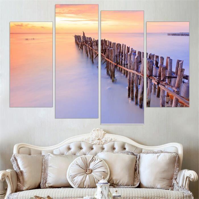 Beau bois soleil image paysage bord de mer peinture mur art toile ...