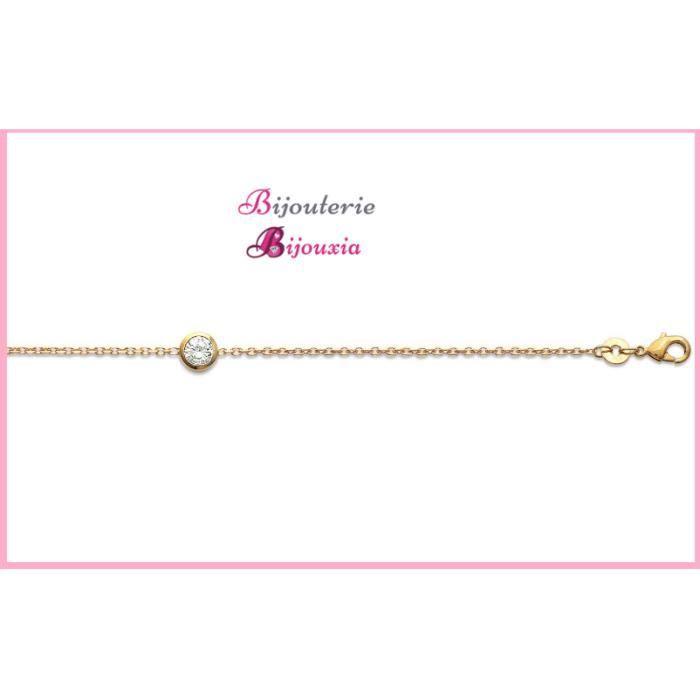 Bracelet fin solitaire oxyde de zirconium Plaqué or 18 Carats