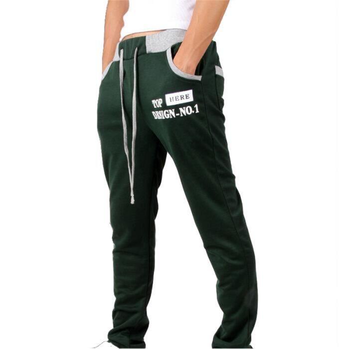 Pantalon de jogging Homme sport imprimé Pantalon Hommes avec  Droit - Noir