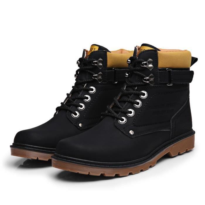 bottes de Martin Homme Mode Derby Cuir Bottine bottes Militaires Chaussures Bx7Sqwq