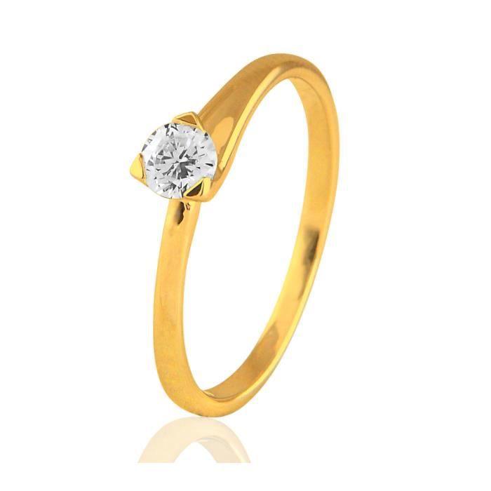 Bague solitaire or jaune9ct et diamant