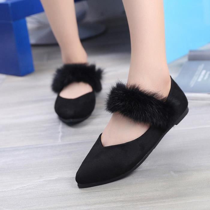 Sidneyki®Chaussures décontractées en peluche pour femmes Ladise Chaussures plates à bout pointu BKNoir ASD298