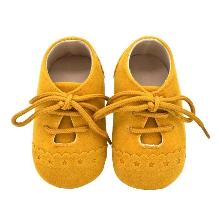 Chaussures Bébé prewalker Casual Nouveau-né Infant Nursery enfant unisexe Jaune 12cm