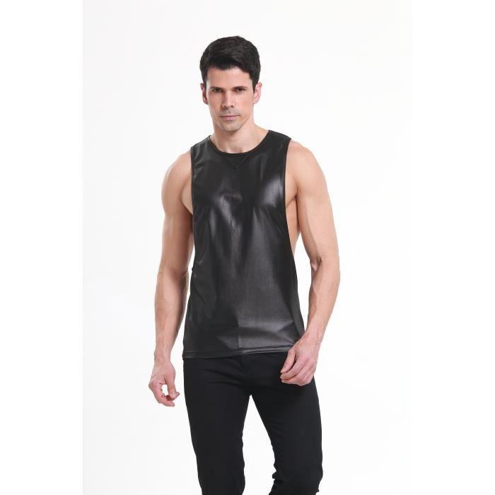 388fa26ad7116 Débardeur Homme T-Shirt Sans Manche Maillot Stretch Faux cuir Couleur Unie T -shirt Sport Col Rond