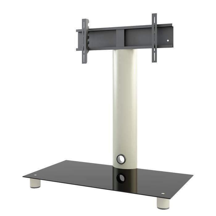 Vcm 14220 Standol Meuble Tv Roulettes Incluses Aluminium Verre Argent Noir